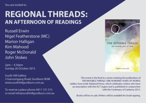 Regional Threads - an afternoon of readings - 20 October 2013 at South Hill, Goulburn (jpeg)