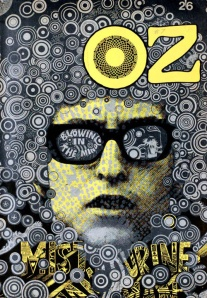 A cover of Oz by Martin Sharp featuring Bob Dylan