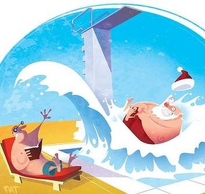 Christmas and NYE: one great big ugly belly-flop?  (Image by Pat Campbell.  Source: Fairfax Media/The Canberra Times)